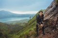 Portrait Of Hiker Man Posing On The Mountain, Freedom Concept. A Stock Images - 70831594