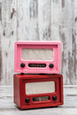 Pink And Red Radio With Retro Look Stock Image - 70831771