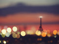 Silhouette Of Eiffel Tower And Night Lights Of Paris, France Royalty Free Stock Photo - 70836795
