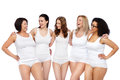 Group Of Happy Different Women In White Underwear Stock Images - 70837084