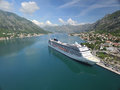 Aerial View Of Large Cruise Ship Near The Pier Royalty Free Stock Photography - 70850217