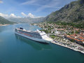 Aerial View Of Large Cruise Ship Near The Pier Stock Photos - 70852063