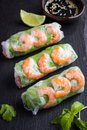 Spring Rolls With Shrimps And Vegetables Stock Photography - 70853612