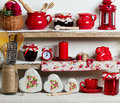 A Rustic Style. Ceramic Tableware And Kitchenware In Red On The Royalty Free Stock Photo - 70854885