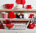 A Rustic Style. Ceramic Tableware And Kitchenware In Red On The Stock Photos - 70869943