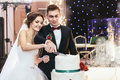 Bride And Groom Cut The Wedding Cake Together Stock Photography - 70880702