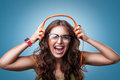 Happy Girl In Headphones Listening To Music. Stock Photography - 70887322