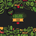 Hand Drawn Eco Food Poster With Lettering For Organic, Bio, Natural, Vegan, Food On Dark Background Royalty Free Stock Photography - 70889437
