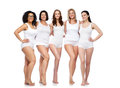 Group Of Happy Different Women In White Underwear Stock Image - 70894071