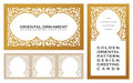 Eastern Set Gold Line Frames For Design Template. Elements Art In Oriental Style Outline Floral Royalty Free Stock Photos - 70901218