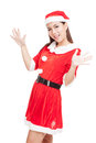 Asian Christmas Girl With Santa Claus Clothes Royalty Free Stock Photos - 70911028