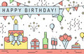 Happy Birthday Multicolored Horizontal Greeting Card. Outline Minimalistic Design. Royalty Free Stock Photo - 70942565