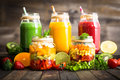 Healthy Fruit And Vegetable Salad And Smoothies Royalty Free Stock Images - 70962719