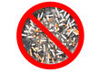 No Cigarette Tobacco Sign. Cigarette Butts In The Ashtray Isolated In White Background. The Concept Of World No Tobacco Day In 31 Stock Photo - 70982240