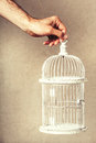 Hand Holding An Empty Cage. Absence Of Ideas And Dreams. Freedom And Hope. Stock Photo - 70990560