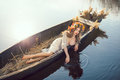 Fantasy Art Photo Of A Beautiful Lady Lying In Boat Royalty Free Stock Image - 70991306