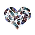 Watercolor Boho Feather Heart Royalty Free Stock Photo - 71014195