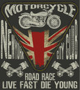 Motorcycle Typography; Vintage Motor; T-shirt Graphics; Vectors Royalty Free Stock Image - 71042406