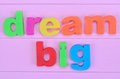 Words Dream Big On Pink Table Royalty Free Stock Photography - 71049817