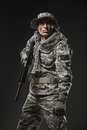 Special Forces Soldier Man With Machine Gun On A  Dark Background Stock Images - 71057584
