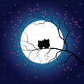 Vector Full Moon Illustration With Stars And Trees Royalty Free Stock Photography - 71058007