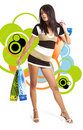 Shopping Girl Over Abstract Background Royalty Free Stock Image - 7119586
