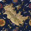 Seamless Pattern With Pirate Map Stock Image - 71105941