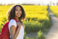 Mixed Race African American Girl Teenager Hiking Stock Photography - 71108802
