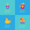Set Of Vector Illustrations Of Rubber Duck, Soother, Sippy Cup, Carriage Royalty Free Stock Photos - 71120008