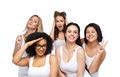 Group Of Happy Women In White Underwear Having Fun Royalty Free Stock Photo - 71120155