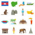 Cambodia Culture Flat Icons Set Stock Photography - 71137742