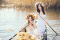 Fantasy Art Photo Of A Beautiful Girls In Boat Stock Photography - 71139182