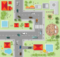 Top View Of The City Of Streets, Roads, Houses, Vector Stock Photography - 71155482