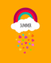 Abstract Vector Kids Background With Rainbow Sky Cloud Icon And Royalty Free Stock Image - 71163466