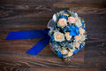 Wedding Flowers, Bouquet Of Pink Roses And Blue Flowers, Roses Stock Photography - 71178932