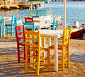 Wicker Sofa  In Santorini Europe Greece Old Restaurant Chair And Stock Photos - 71186313