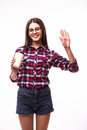 Portrait Of  Beauty Student Girl With Hello Gesture  Drink Tea Or Coffee From Paper Cup Royalty Free Stock Photography - 71193767