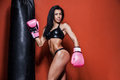 Young And Fit Female Fighter Posing In Combat Poses Stock Photo - 71197030