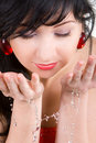 Woman Refreshing The Face Stock Images - 7124714
