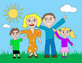 Happy Cartoon Family Stock Image - 7125061