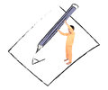 Little Boy Taking Big Pencil Writing On Paper Drawing Line Stock Photos - 71208023