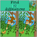 Children Games: Find Differences. Little Cute Monkey. Stock Photography - 71212032