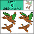 Children Games: Find Differences. Two Little Cute Ducks. Stock Image - 71212441