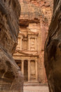 Canyon In The Ancient City Of Petra (Jordan) - Opening View Of The Famous Al-Khazneh (aka Treasury) Royalty Free Stock Image - 71215866