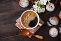Coffee Cup, Tasty Seedcake And Flower Royalty Free Stock Images - 71215979