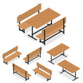 Benches And A Table. Flat Isometric. A Place For Rest Stock Photography - 71216432