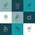 Universe Astronomy Thin Line Vector Icons And Logos Set Royalty Free Stock Photo - 71220005