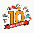 Colorful Happy Birthday Number 10 Flat Line Design Stock Images - 71262694