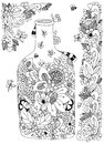 Vector Illustration Zen Tangle With Flowers Bottle. Doodle Flowers Frame. Coloring Book Anti Stress For Adults. Black White. Royalty Free Stock Photography - 71278107