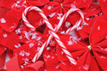 Candy Canes On Red Bows Stock Photography - 7131622